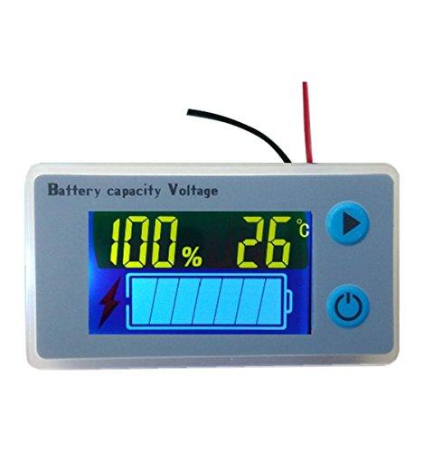 CPTDCL 12V Multifunktionaler LCD Leistungsmesser für Bleisäurebatterien, Spannungsmesser mit Temperaturanzeige, Batterieanzeige, Spannungsanzeige