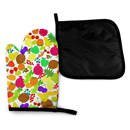 Pinakoli Mitts Seamless Pattern Fruits Nice Bright Color Oven Mitts And Potholders BBQ Gloves-Oven Mitts And Pot Holders with Waterproof Polyester
