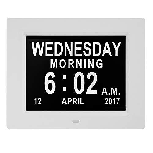Donpow Reloj Despertador con Calendario de día Digital, 8 alarmas Reloj de día con pérdida de Memoria Reloj con discapacidad de la visión de Alzheimer para Ancianos/Ancianos (8 Blanco)