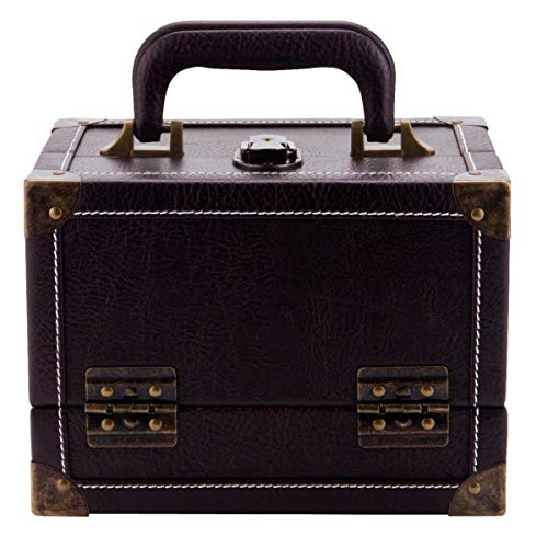 Prym Leather-Look Bruin Antiek Naaien/Naaldwerk Trunk-Style Hinged, Extending Case met Self-Service Tag en Metalen koffer Sluiting-Medium, Faux, 22x16x16 cm