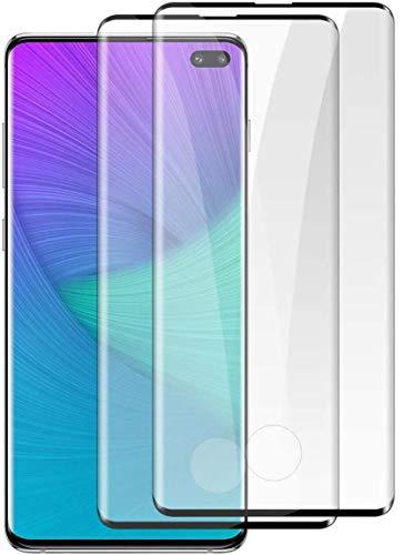 [2 Stück] Panzerglas Schutzfolie für Samsung Galaxy S10 Plus,9H Hartglas 3D Curved Schutzglas,Kratzfest,Blasenfrei,Folie Panzerglasfolie Bildschirmschutz für Samsung S10 Plus (Schwarz)