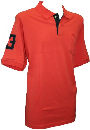 D2K Collection Perfect No 3 Manches Courtes en Coton Polo Top Shirt Orange Corail 2XL