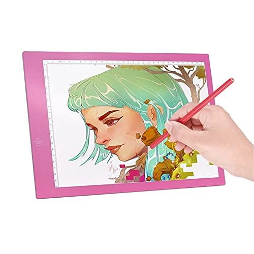 Yamyannie Almohadilla de luz LED A4 LED Caja De Luz Copia Panel Panel Dibujo Tableta Sketch Boards Art Art Art Stencil para Dibujar (Color : Pink, Size : One Size)