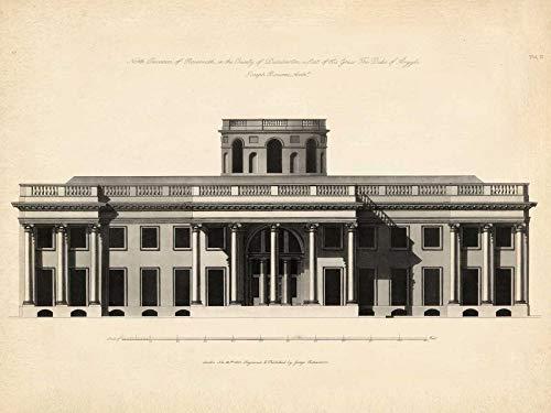 Feeling at home Impression-sur-Toile-ENROULÉE-Antique-FA'_ade-I-Richardson-Architecture-Affiche-imprimer-sur-toile-enroulée-100% coton-pour-décoration-murale-Dimensions-57_X_76_cm