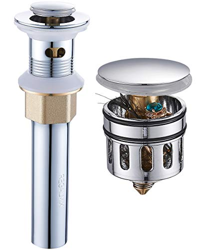 REGALMIX Pop Up Drain, Bathroom Faucet Vessel Vanity Sink Drain Stopper, Built-In Anti-Clogging Strainer, Polished Chrome with Overflow, Fits Standard American Drain Hole(1-1/2 to 1-3/4) R086H-CP