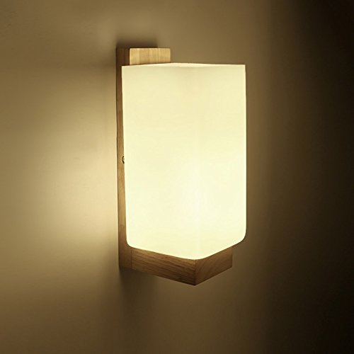 VanMe Lampe Murale Moderne En Bois Clair Verre Nuit +E27 Feux De Mur De La Chambre