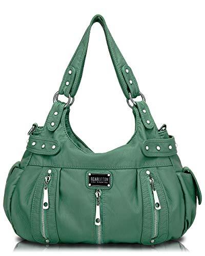 Scarleton Satchel Handbag for Women, Ultra Soft Washed Vegan Leather Crossbody Bag, Shoulder Bag, Tote Purse, Dark Mint Green, H129253