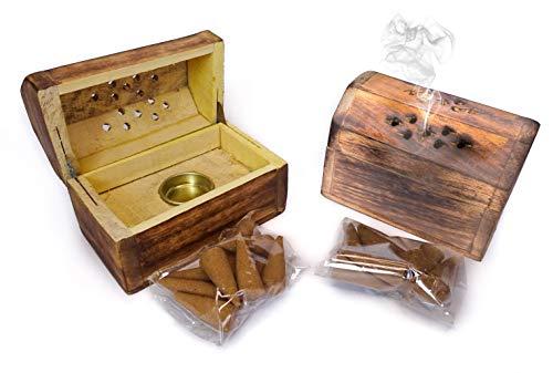 Conjunto de 2 Cofres Cajas de Madera Hechos a Mano. Porta Incienso. Quemador Incienso. Incluye 10uds de Conos. Medidas: 9,5x5,5x6cm