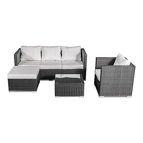 Skylantern - Conjunto de 4 asientos de jardín con efecto resina trenzado, efecto ratán, antracita con cojines, conjunto de 4 piezas, sofá, sofá de esquina, silla de jardín y mesa baja