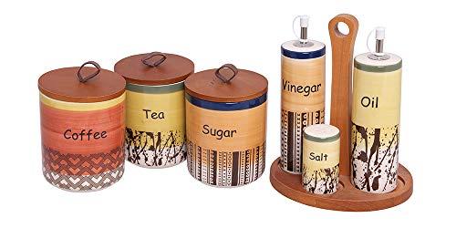 Alice's Collectie - Set Keramische Koffie, Suiker, Theepotjes Met Luchtdicht Deksel - Grootte 11x11x14cm & Olie-Azijn-Aalt-Peper op Houten Basis 19x13x21cm