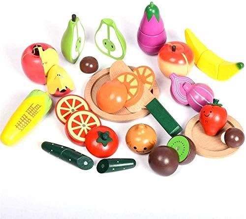 Abcoll Baby Cut Fruit Toys Cortar para Ver Niños Cortar Frutas Cocina Cortar Verduras Verduras Tartas Casa de Juegos Niñas Frutas y Verduras Cortar Juguetes Cocina para niños Simulación Vegetal C