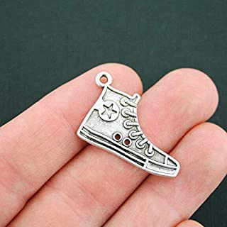 6 Running Shoe Charms Antique Silver Tone High Top Sneaker DIY Crafting by Wholesale Charms
