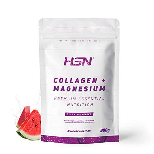 HSN Colágeno Hidrolizado con Magnesio Origen Bovino | con Vitamina C | Belleza Natural de Piel, Cabello y Uñas | Sin Lactosa, Sabor Sandía, En Polvo, 500 gr