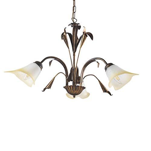 ONLI Lámpara de Techo de 3 Luces, Estilo clásico, de Metal, marrón y Dorado, Bronce, 3 luci