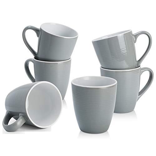 Coffee Mug Set of 6 Porcelain Mugs Set of 6 Large Sized Coffee Mugs for Kids Men Women for Camping...