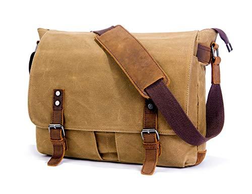 SUVOM Mens Messenger Bag, Echtes Leder Canvas Messenger Bag, Wasserdichte Laptop Messenger Bag Für 15-Zoll-Laptop, Vintage Ranzen Aktentasche Cross Body Umhängetasche Für Den Täglichen Gebrauch, Reise