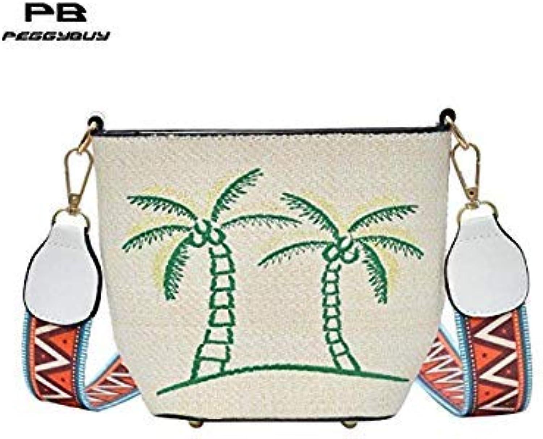 Bloomerang Women Messenger Bags Lady Crossbody Bag Embroidery Straw Female Handbags Fashion Shoulder Bag Mini Tote Bucket Bolsa Feminina color 04