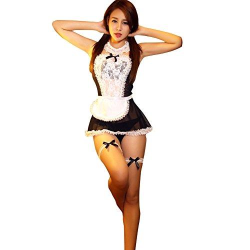 YOOJIA Damen Babydolls G-String Dienstmädchen Cosplay Nachtwäsche Kleid Dessous Reizwäsche Transparent Hausmädchen Kostüm Uniform Versuchung Schwarz One_Size