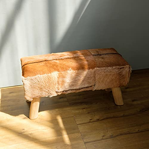 wohnfreuden Bank mit Teakholzfüssen Ziegenfell 80x37x41 cm Sitzmöbel braun