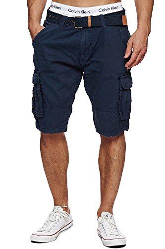 Indicode Herren Monroe Cargo ZA Shorts m. 6 Taschen inkl. Gürtel aus 100% Baumwolle | Kurze Hose Bermuda Sommer Herrenshorts Short Men Pants Cargohose kurz Sommerhose f. Männer Navy M