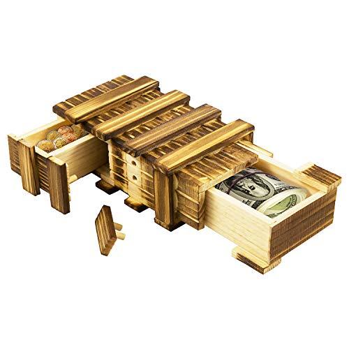 HANGOU Caja de Rompecabezas, Caja de Regalo Mágica Compartimiento Secreto Mini Cajas Creativas Caja Secreta de Madera para Decoración, Colección