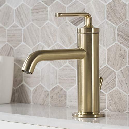 Kraus KBF-1221BG Ramus Single Handle Bathroom Sink Faucet with Lift Rod Drain, Brushed Gold