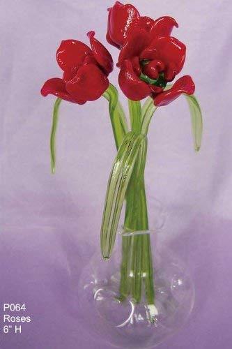 Fiori in vetro, in un vaso in vetro, fiori: rose rosse
