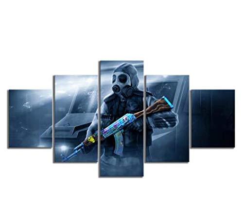 WLHZNB canvas afdrukken 5 stuks muurkunst canvas Anti Global Stroke Offensive Modern Plakkaat Hoofddecoratie afdrukken Schilderen (Größe 3) Kein Rahmen