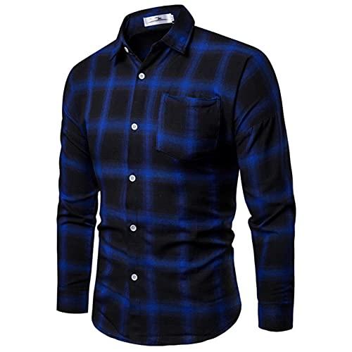 Men's Fashion Dress Shirt, Button Down Regular Fit Long Sleeve Plaid Flannel Casual Shirts Patchwork (XL, Blue, x_l)