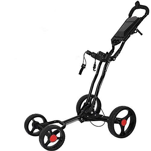 HYQW Golftrolley, 4 Räder, drehbar, klappbar, mit Handbremse und Schirmständer, einfach zu transportieren und zu öffnen, 1-klick-Demontage,Black