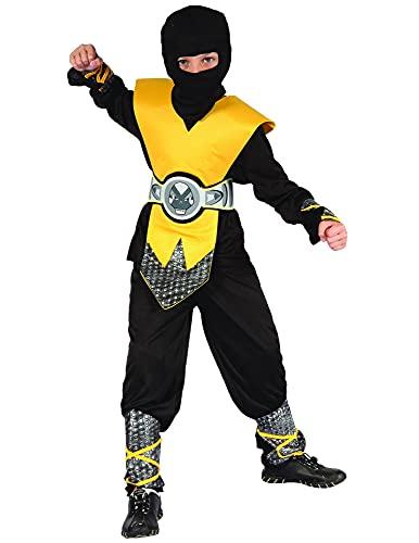 DEGUISE TOI Déguisement Ninja Jaune Plastron garçon - L 10-12 Ans (130-140 cm)