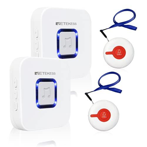 Retekess TH003 Wireless Caregiver Pager,Nurse Alert System,52 Alert Tones,2 SOS Call Buttons,2 Receivers for Nurse,Patient,Elderly,Handicapped