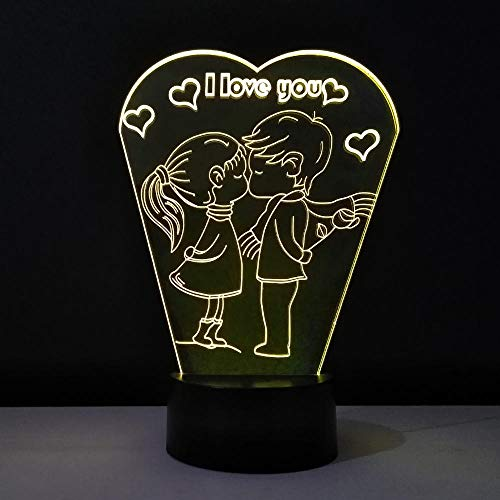 Lámpara de ilusión 3D Luz de noche LED Amantes del día de San Valentín Luz de hadas 7 colores cambiantes Placa de metacrilato para niños Lámpara de cabecera para niño niña Juguete Cumpleaños Regalo
