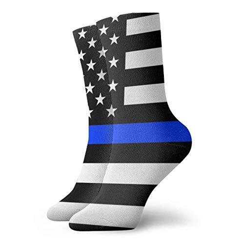 QUEMIN Thin Blue Line Support The Police Calcetines Calcetines cortos deportivos clásicos de ocio Adecuado para hombres Mujeres Calcetines deportivos Calcetines informales transpirables cómodos 30cm