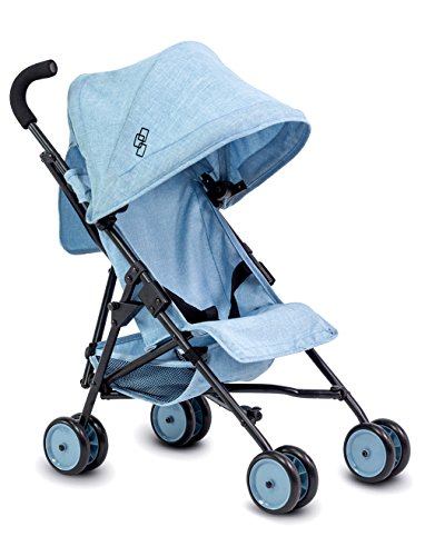 TRIOKID My First Baby Doll Stroller Miniline Blueberry Blue Travel Toys for Kids Portable Doll Pram Drawable Fabric with Removable Weather Resistant Canopy