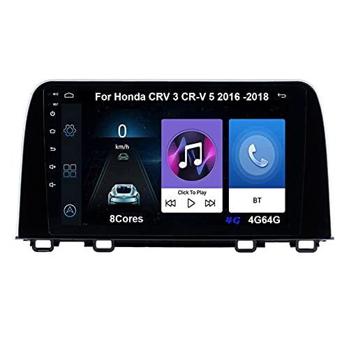 Android 10 Autoradio 9 Pulgadas Coche Radio De Coche Pantalla Tactil Para Honda CRV 3 CR-V 5 2016-2018 Radio Del Coche Car Player Conecta Y Reproduce Coche Audio USB Cámara Trasera