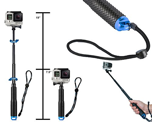 Extendable Selfie Self Stick Pole for GoPro Hero Hero2 Hero3 Hero4 Hero5 Hero6 Aluminum Dive Telescopic Monopod Handle Extension (19cm to 49cm) by ADIKA
