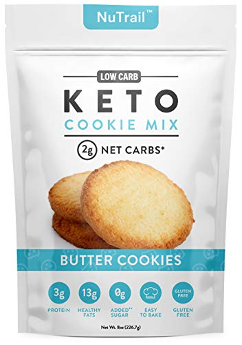 NuTrail™ - Keto Shortbread Butter Cookies Baking Mix | Low Carb Snacks & Food - Only 2g Net Carb Per Cookie - Gluten Free & No Added Sugar, Healthy Diabetic Friendly Cookie Snack Dessert (Makes 10 Large Cookies)