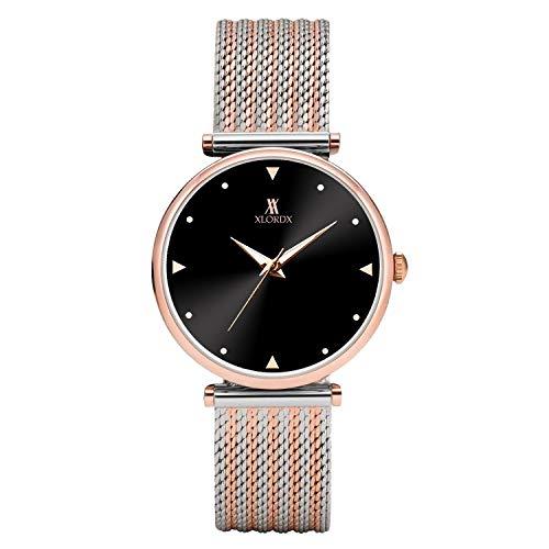 XLORDX Damen Uhr Analog Quarz Armbanduhr mit Bicolour Silber Roségold Edelstahl Milanese Armband, 3ATM Wasserdicht mit Schwarz-Zifferblatt