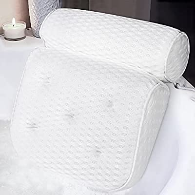 Bath Pillows for Tub Ergonomic Bathtub Pillow Adopts 4D Mesh & 7 Suction Cups,Bath AccessoriesIt Helps to Support The Head,Back, Shoulders and Neck. It is Suitable for All Bathtubs, Hot Tubs and Spas