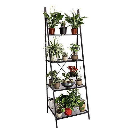C-Hopetree - Estantería de almacenamiento para estanterías industriales vintage con soporte para plantas, muebles de oficina en el hogar, marco de metal negro 4 Shelf Metal Negro