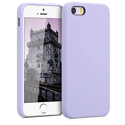 kwmobile Funda Compatible con Apple iPhone SE (1.Gen 2016) / 5 / 5S - Funda Carcasa de TPU para móvil - Cover Trasero en Lavanda Pastel
