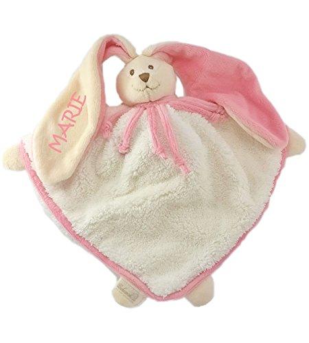 Babysutten Schmusetuch mit Namen, Marie cremeweiß, 1 Ohr Bestickung