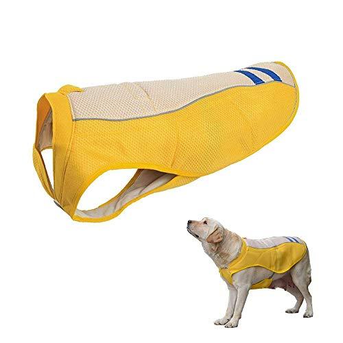JanTeelGO Pettorina rinfrescante per Cani, Raffreddamento Gilet Cani, Cane Raffreddamento Gilet Cintura Traspirante Cane Cappotto di Raffreddamento Giacca per Cani a Prova di Sole (XL, Giallo)