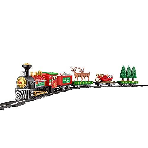 FXQIN Juegos de Trenes eléctricos con Locomotora de Vapor, Trenes De Navidad...