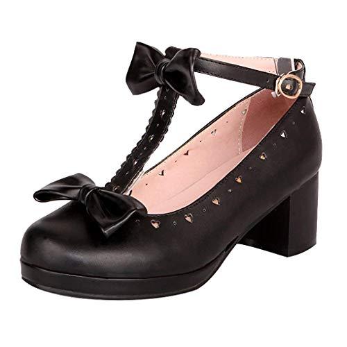 Femany Damen T-spangen Pumps mit Blockabsatz und Schleife Chunky Heels Plateau Rockabilly Cosplay Lolita Schuhe (Schwarz,40)