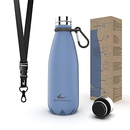 Daikoku Botella Acero Inoxidable + Cinta ajustable + Mosquetón + Anillo Silicona - Termo Doble Pared Libre de BPA - 12 Horas Caliente - 24 Horas Fría – Botella Reutilizable - 350ml - Color Azu