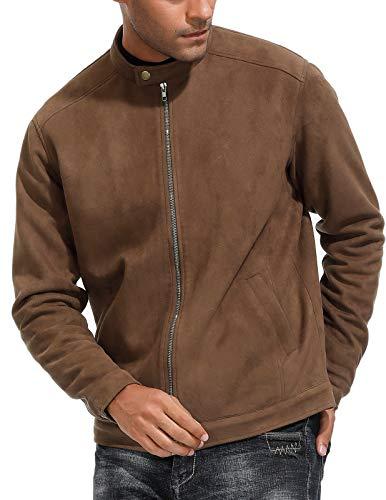 PJ PAUL JONES Men's Fashion Slim Fit Faux Suede Leather Bomber Jacket Coffee Size S