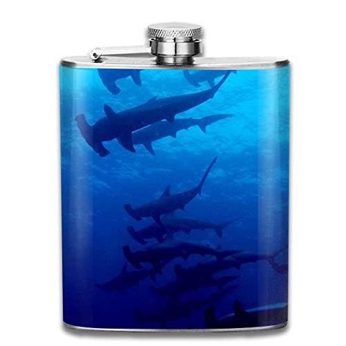 Flaschen Ocean Hammerhead Shark Whale Portable 304 Edelstahl Auslaufsicher Alkohol Whisky Alkohol Wein 7 Unze Topf Flachmann Reise Flasche Camping Flagon für Mann Frau Großes kleines Geschenk