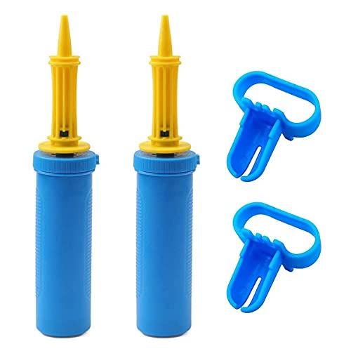 Inflador manual de globo de mano para inflador manual, adecuado para kit de arco de globo, globos de helio, globos de aluminio y confeti, globos de yoga, color azul
